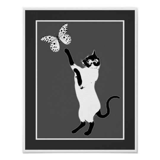 Siamese Cat Butterfly Black And White Poster