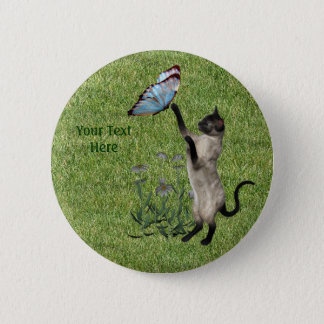 Siamese Cat Butterfly Button