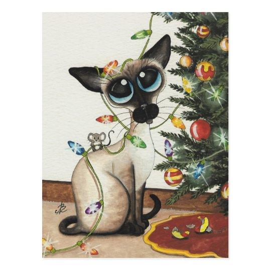Siamese Cat Christmas Lights By AmyLyn Bihrle Postcard