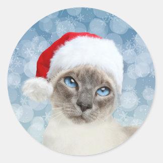 Siamese cat Christmas Round Sticker