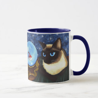 Siamese Cat Crystal Ball Koi Fortune Fantasy Mug
