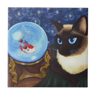 Siamese Cat Crystal Ball Koi Fortune Fantasy Tile