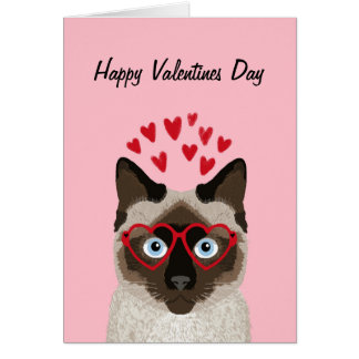 Siamese Cat - cute valentines love card