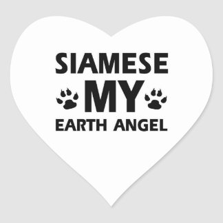 SIAMESE CAT DESIGN HEART STICKER