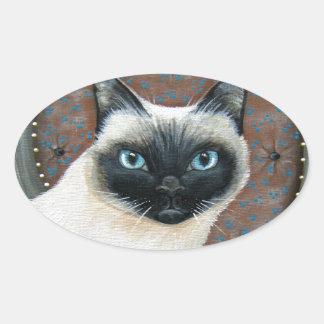 Siamese Cat Design Oval Sticker