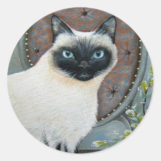 Siamese Cat Design Round Sticker