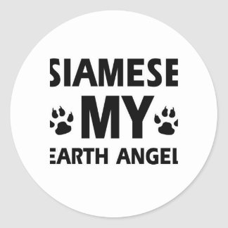 SIAMESE CAT DESIGN ROUND STICKER