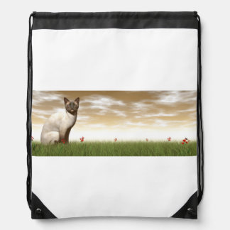 Siamese cat drawstring bag