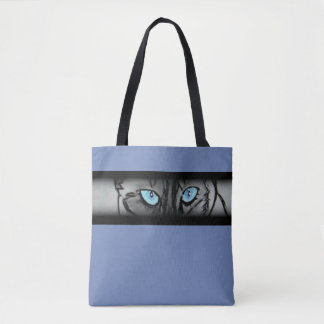 Siamese Cat Eyes in Blue Tote Bag