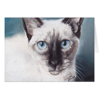 Siamese Cat Face Animal Art Note Card