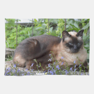siamese cat flowers kitchen towel