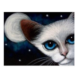 SIAMESE CAT & FULL MOON Postcard