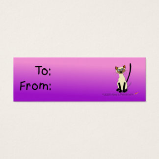 Siamese Cat Gift Tag (Pink and Purple)
