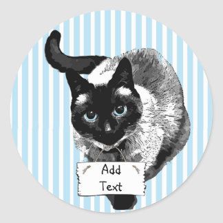 Siamese Cat Holding Blank Sign You Add Text Round Sticker