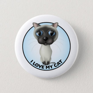 Siamese Cat - I Love My Cat 2 Inch Round Button