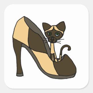 Siamese Cat in Shoe Art Square Sticker