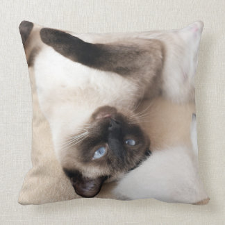 Siamese Cat lying on the back Throw Pillow