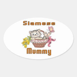 Siamese Cat Mom Oval Sticker