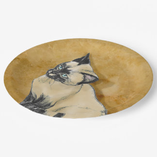Siamese Cat on Gold Paper Plate