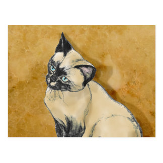 Siamese Cat on Gold Postcard