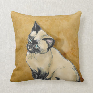 Siamese Cat on Gold Throw Pillow