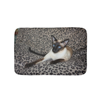 Siamese Cat on Leopard Print Wild Animal Spots Bath Mat