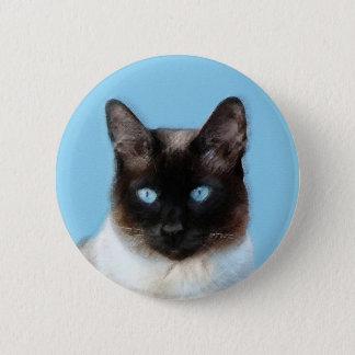 Siamese Cat Painting - Cute Original Cat Art 2 Inch Round Button