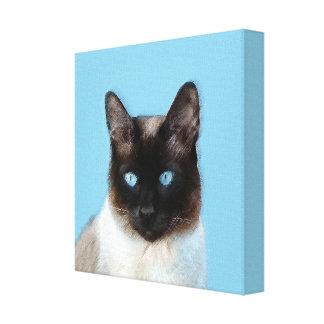 Siamese Cat Painting - Cute Original Cat Art Canvas Print