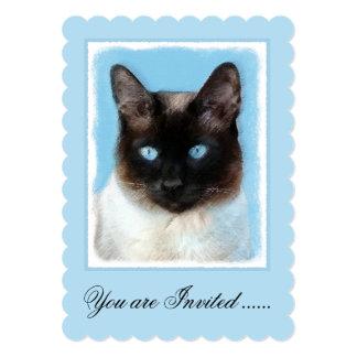 Siamese Cat Painting - Cute Original Cat Art Card