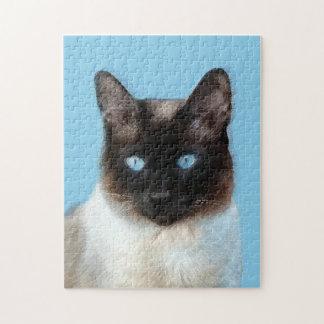 Siamese Cat Painting - Cute Original Cat Art Jigsaw Puzzle