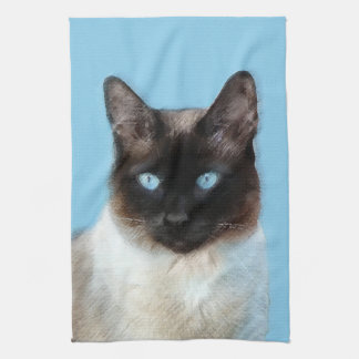 Siamese Cat Painting - Cute Original Cat Art Kitchen Towel