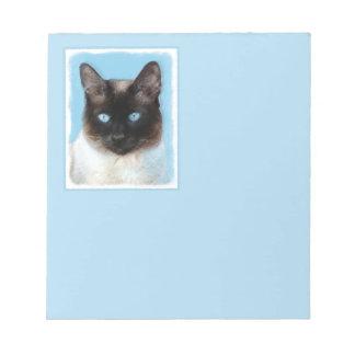 Siamese Cat Painting - Cute Original Cat Art Notepad