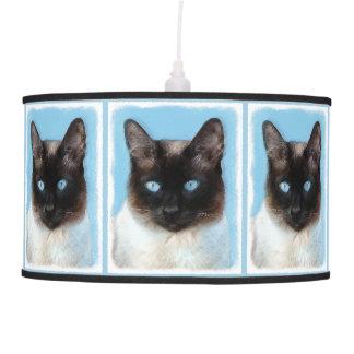 Siamese Cat Painting - Cute Original Cat Art Pendant Lamp