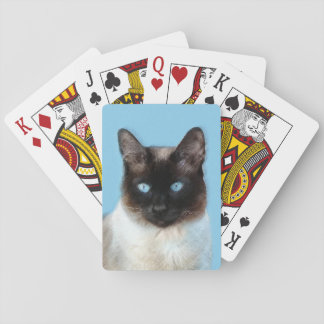 Siamese Cat Painting - Cute Original Cat Art Playing Cards