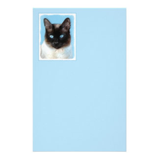 Siamese Cat Painting - Cute Original Cat Art Stationery