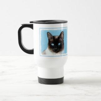 Siamese Cat Painting - Cute Original Cat Art Travel Mug