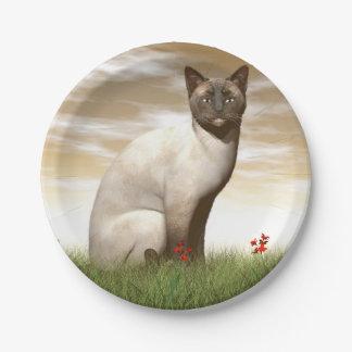 Siamese cat paper plate
