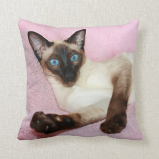 Siamese Cat Pink Background Throw Pillow