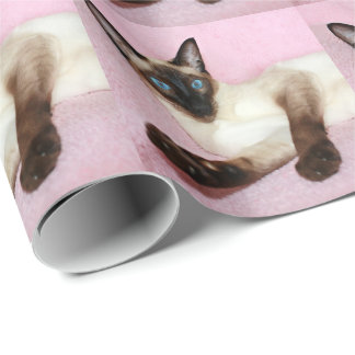 Siamese Cat Pink Background Wrapping Paper