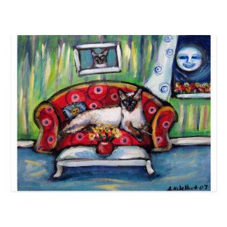 Siamese cat senses smiling moon cat painting postcard