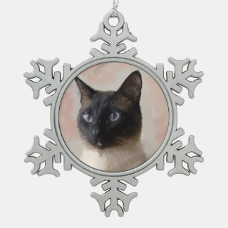 Siamese Cat Snowflake Pewter Christmas Ornament