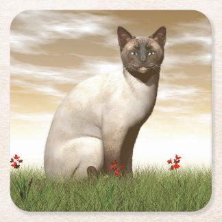 Siamese cat square paper coaster