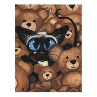 Siamese Cat Teddy Bear Hug by BiHrLe Postcard