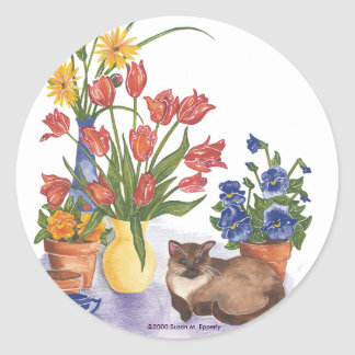"""Siamese Cat Tulips Pansies Watercolor """"Chester"""" Round Sticker"""
