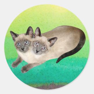 Siamese Cat Twins Round Sticker