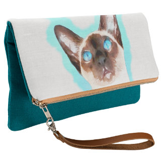 Siamese Cat Watercolor Art Clutch