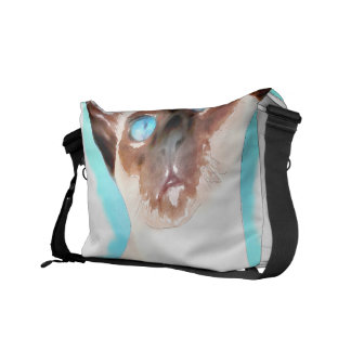 Siamese Cat Watercolor Art Courier Bags