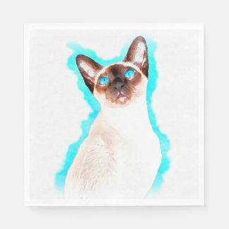 Siamese Cat Watercolor Art Disposable Napkin