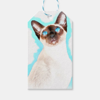 Siamese Cat Watercolor Art Gift Tags