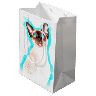 Siamese Cat Watercolor Art Medium Gift Bag